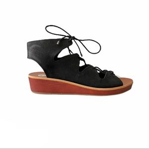 Lucky Brand NEW leather lace up tie cutout sandals